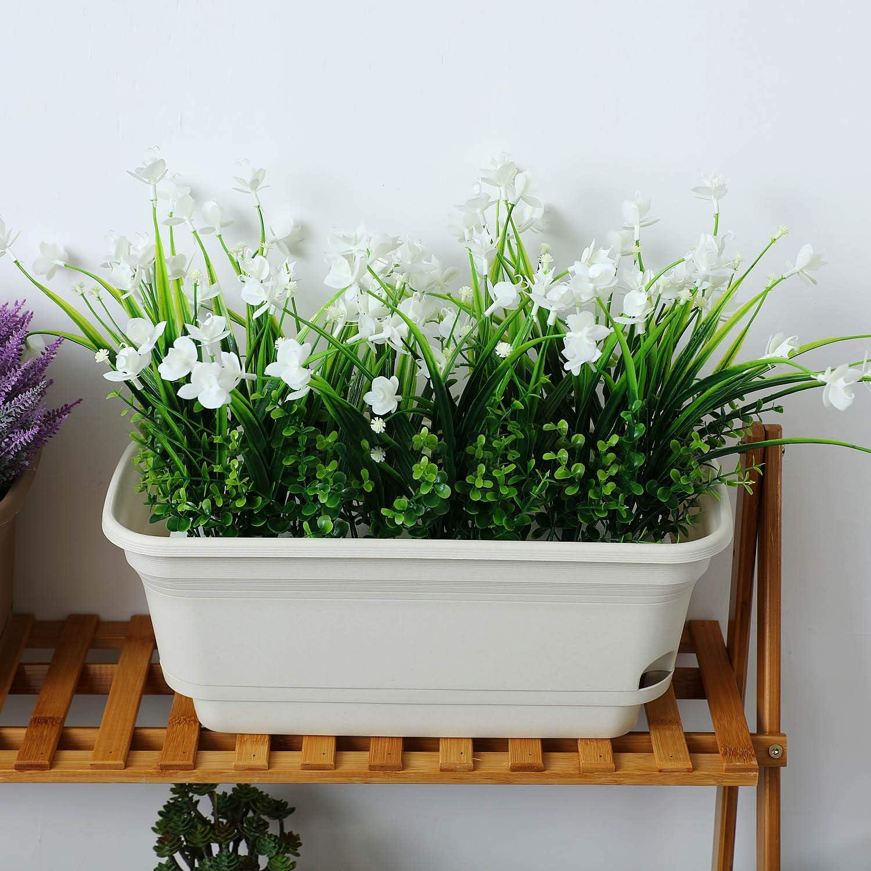 Beige T4U Jardineras de Riego Autom/ático Maceta Rectangular Pl/ástica Flores Maceta Decorativa Moderna//Jardinera Suculentas Violetas Africanas Hierbas Paquete de 2