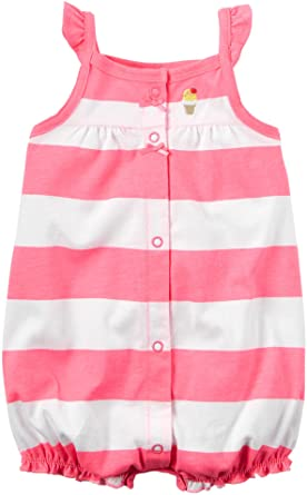 Carter's Baby Girls 1-piece Appliqué Snap-Up Romper (Newborn, Pink Stripe)