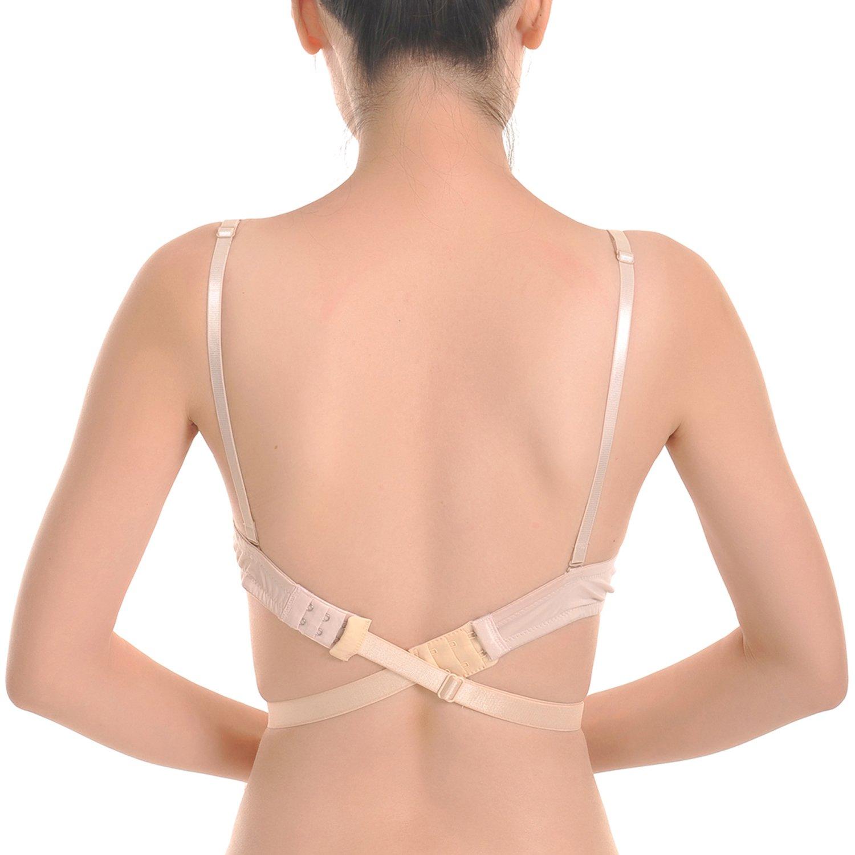 a5a17204ee Closecret Women s Adjustable Low Back Bra Converter Straps 2 Hooks(Pack of  3)