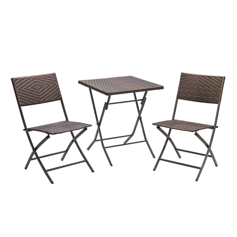 Balkon Set 3tlg   2 Stühle 1 Tisch Polyrattan Garnitur Zusammenklappbar
