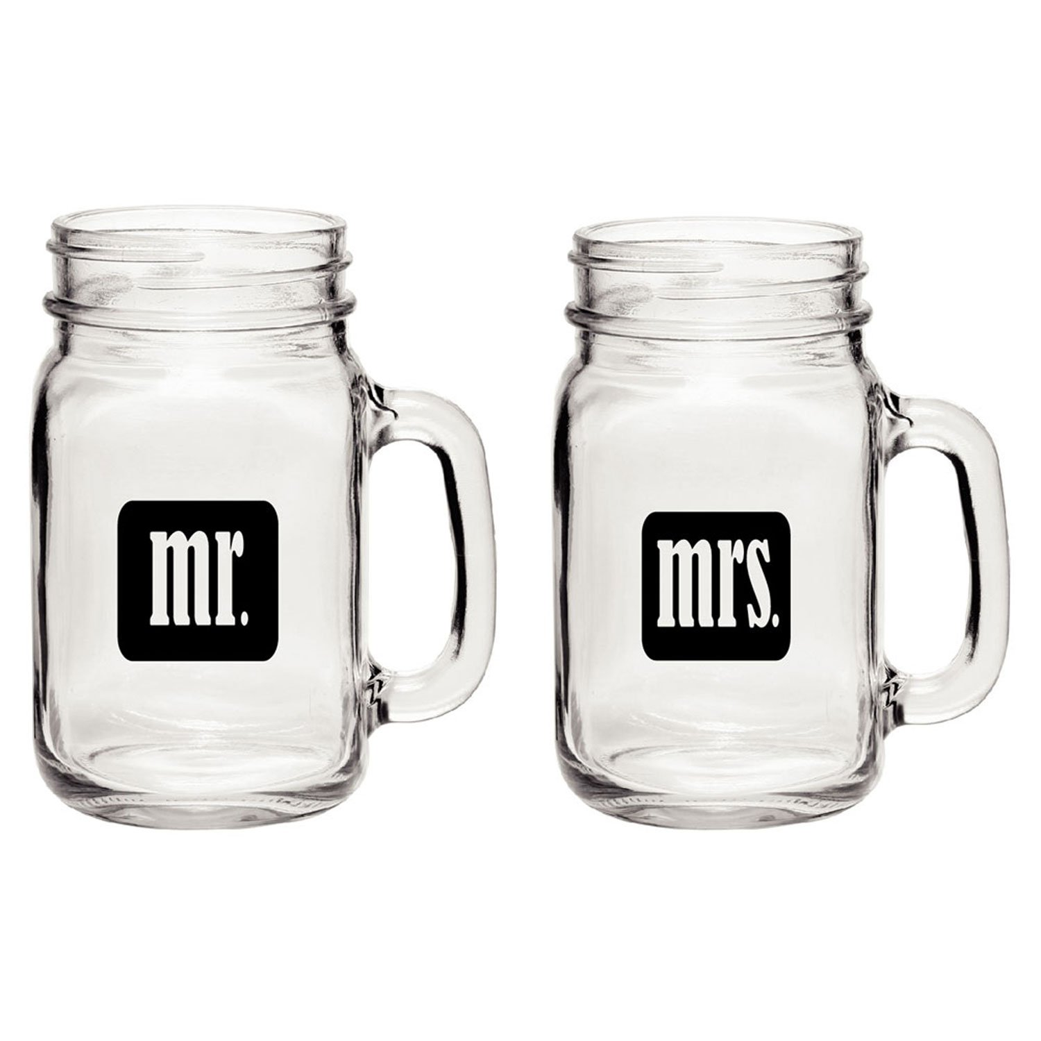 Mr. & Mrs. Mason Jars - Glass Drinking Glasses Set With Gift Box - For Couples - Engagement, Wedding, Anniversary, House Warming, Hostess Gift, 16 oz by Smart Tart Design (Image #2)