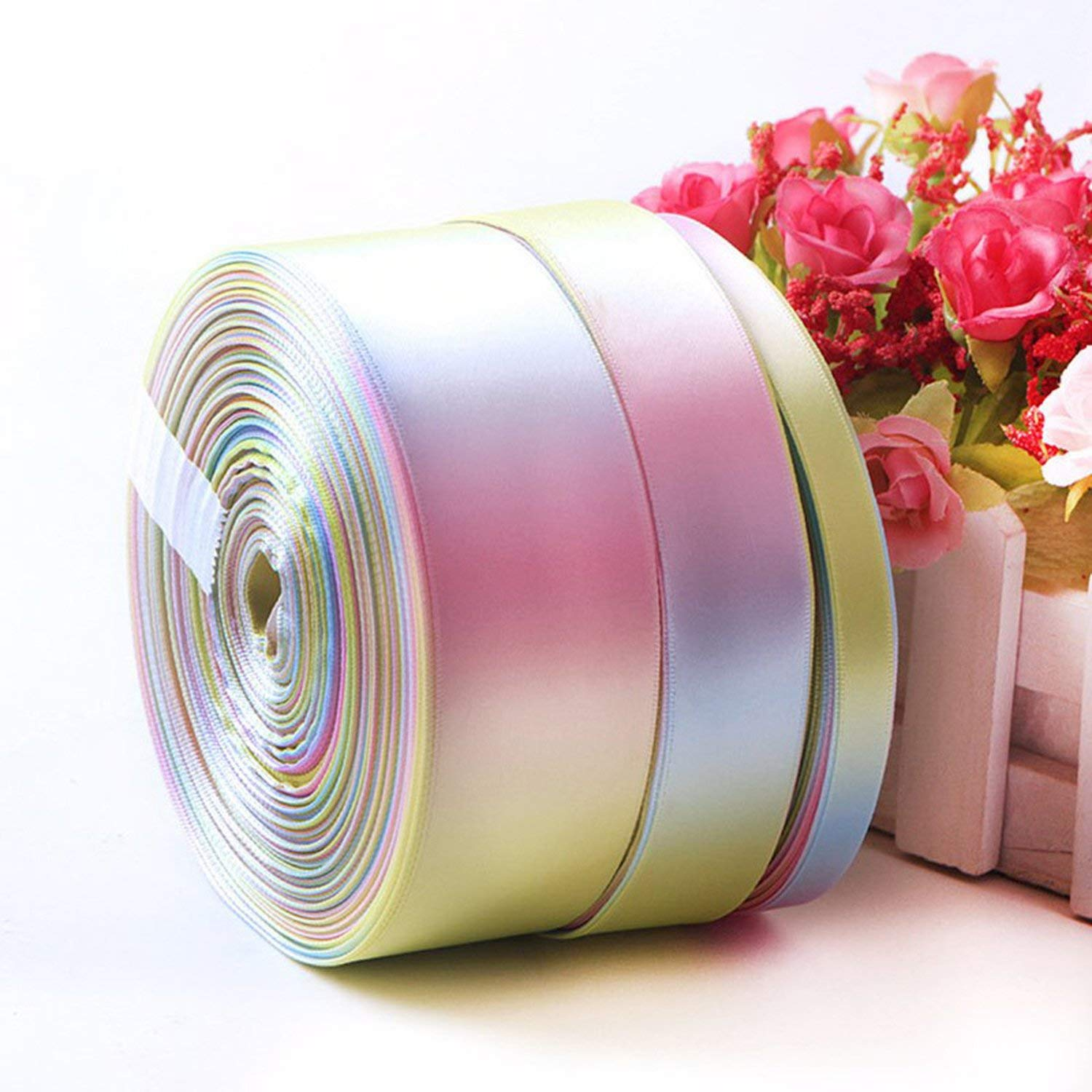 Party Streamers Rainbow Ribbon Printed Polyester Satin Ribbons Handmade Materials,50mm by AYO-LE streamers (Image #6)