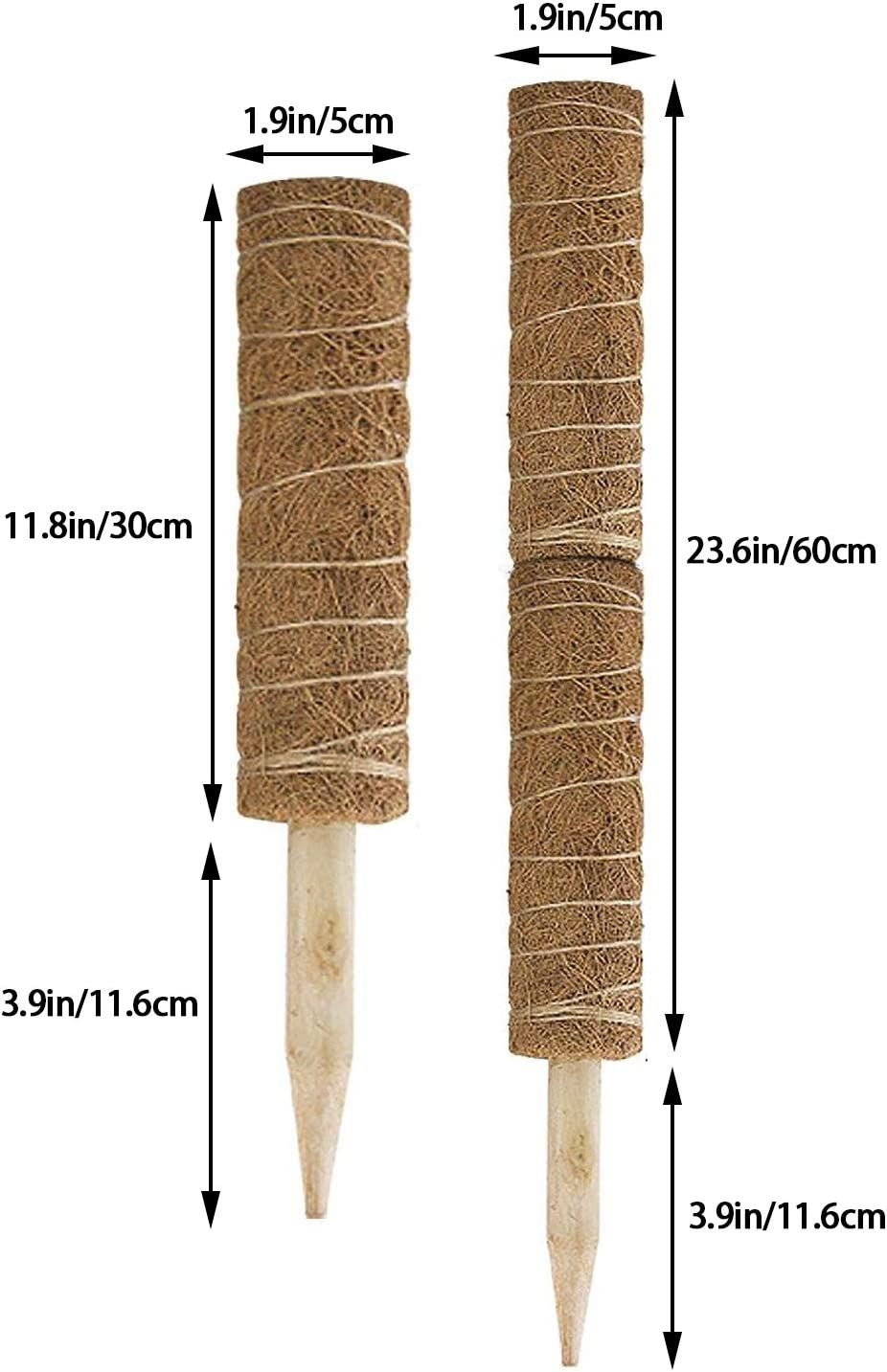 Coir Moss Totem Pole Coir Moss Stick for Plant Support Extension 4 Pieces 15.7 Inch Coir Totem Pole with 40 Pcs Plant Labels Creepers Climbing Indoor Plants