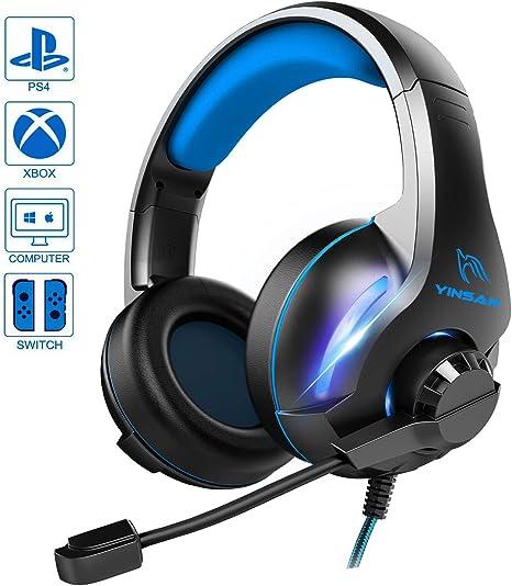 Yinsan PS4 - Auriculares de diadema para videojuegos con micrófono ...
