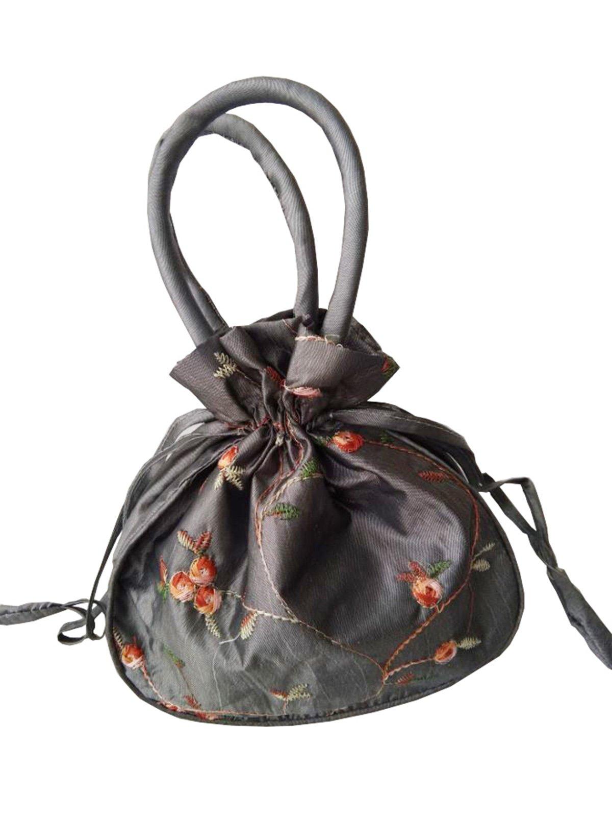 YuRong Taffeta Wedding Bag for bridal Embroidery Pouches Wedding Accessories B01 (Silver)
