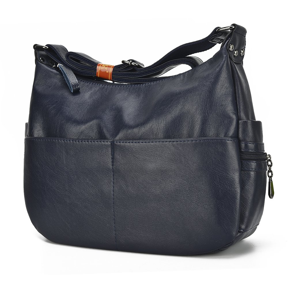 Large Crossbody Bag Leparvi Purse Lady Double Zipper Shoulder Bag Hobo Style Women Tote HandBag For Work(Blue)