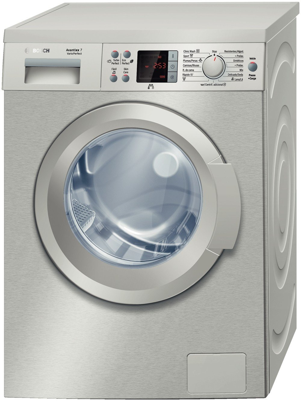 Bosch WAQ2441XEE Independiente Carga frontal 7kg 1200RPM A+ Acero ...