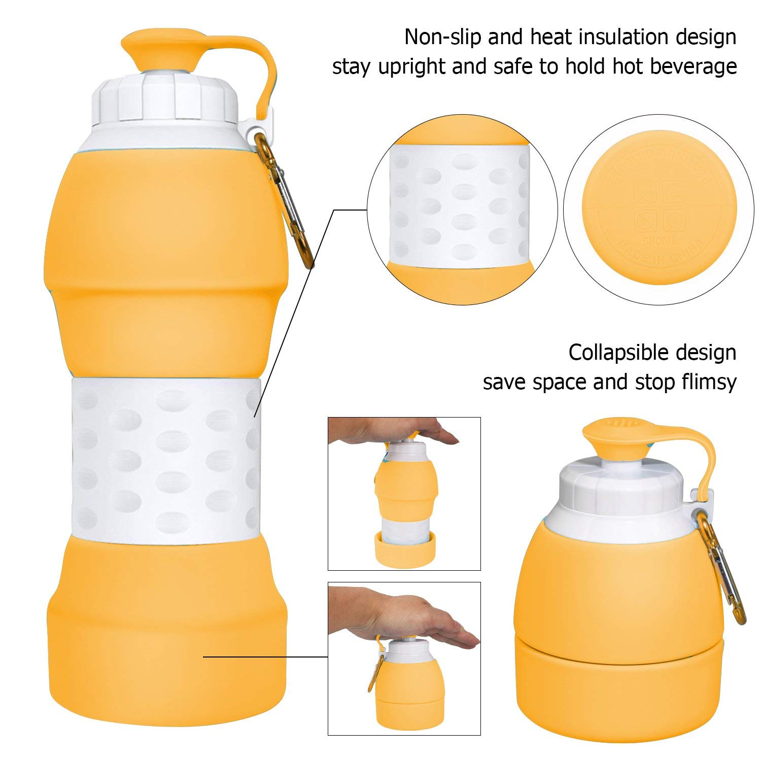 Foldable Water Bottle with Silicone Lightweight Sports Travel Water Bottle for Outdoor Gym Collapsible Water Bottle Hiking Cycling with Carabiner