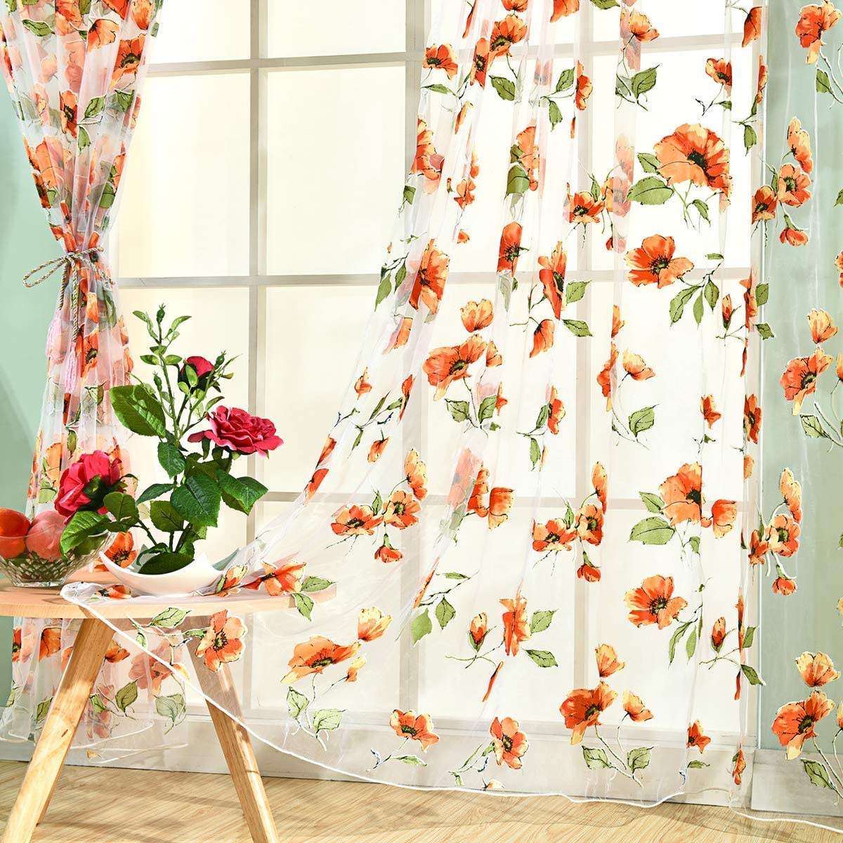 Broshan Sheer Curtains Red Flowers Spring Natural Floral Printed Voile Curtain Panels For Bedroom Living Room Shade Rod Pocket 1 Set Of 2 Kitchen Dining