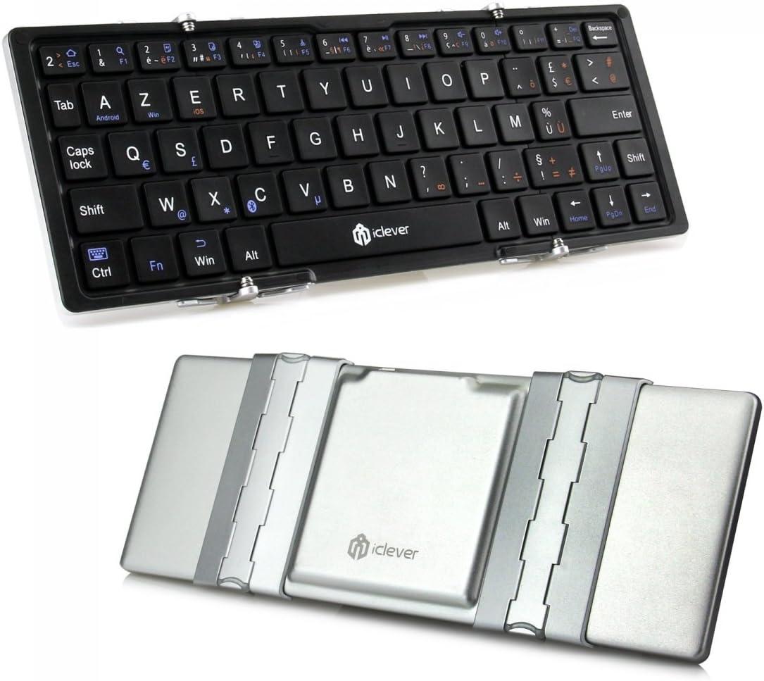 iClever® IC-BK03 - Teclado Azerty plegable en 3 partes con Bluetooth, control magnético universal, ultradelgado, para IOS, Android o Windows
