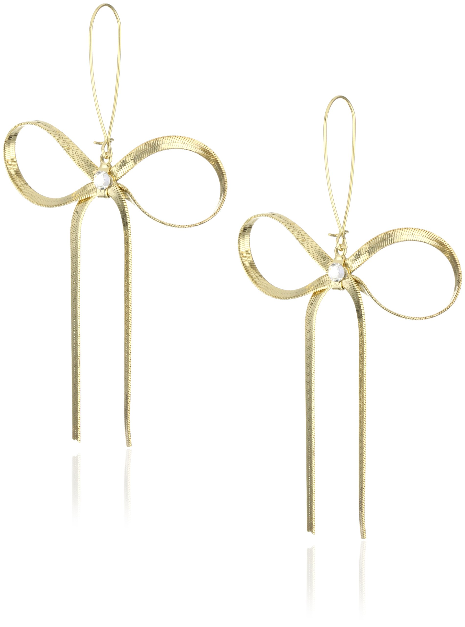 Betsey Johnson Large Gold Textured Bow Drop Earrings