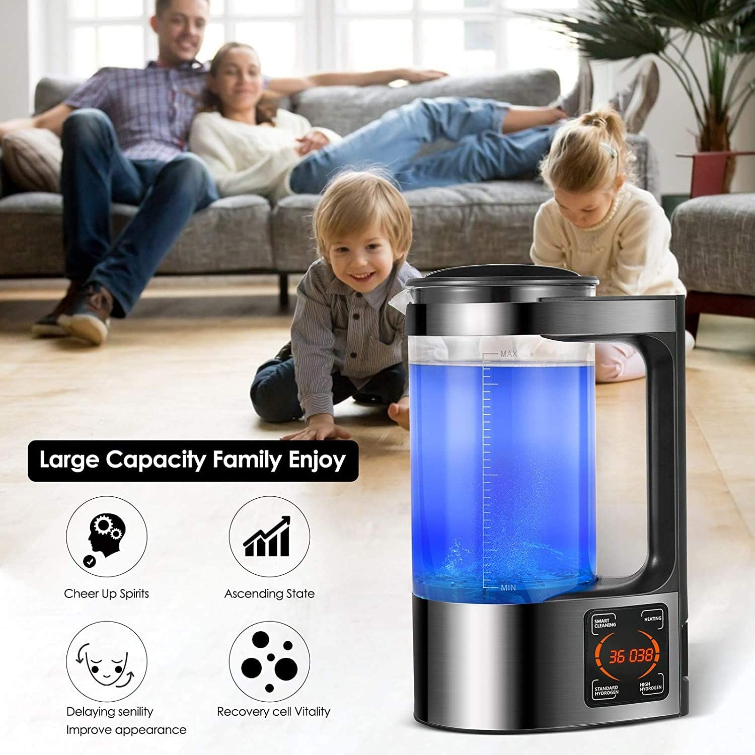 DQXY Hydrogen Water Generator Water ion Generator with Thermostat Digital Touch Control LED Display Hydrogen-Rich Water Bottle Health Cup for Family Use 2L Large Capacity