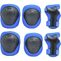 Chansea Kids/Child Cycling Inline Roller Skating Knee Pads Elbow Pads Wrist Guards Protective Gear Set for Boys and Girls BMX Biking Skateboarding Scooter (Blue)