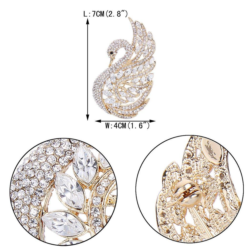 Ever Faith Bridal Swan Bird Austrian Crystal Brooch Pin