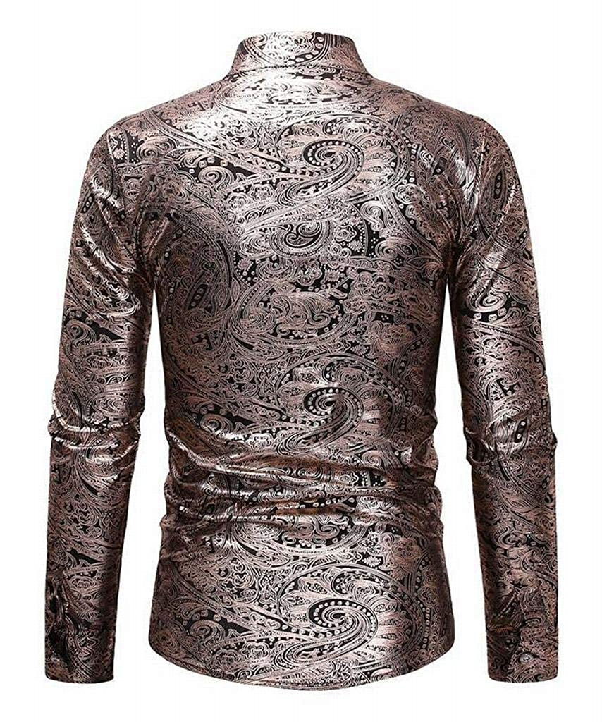 SHOWNO Mens Print Stand Collar Business Long Sleeve Casual Button Up Dress Work Shirt
