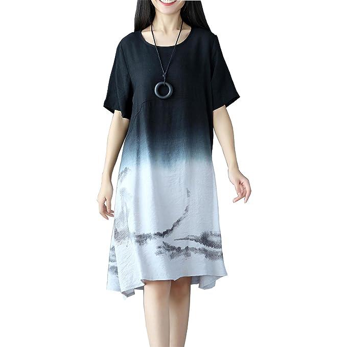 96fd46235564 OKSakady Cotone e Biancheria Vestito da Donna Sciolto Taglia Grossa Vestito  da Tunica  Amazon.it  Abbigliamento