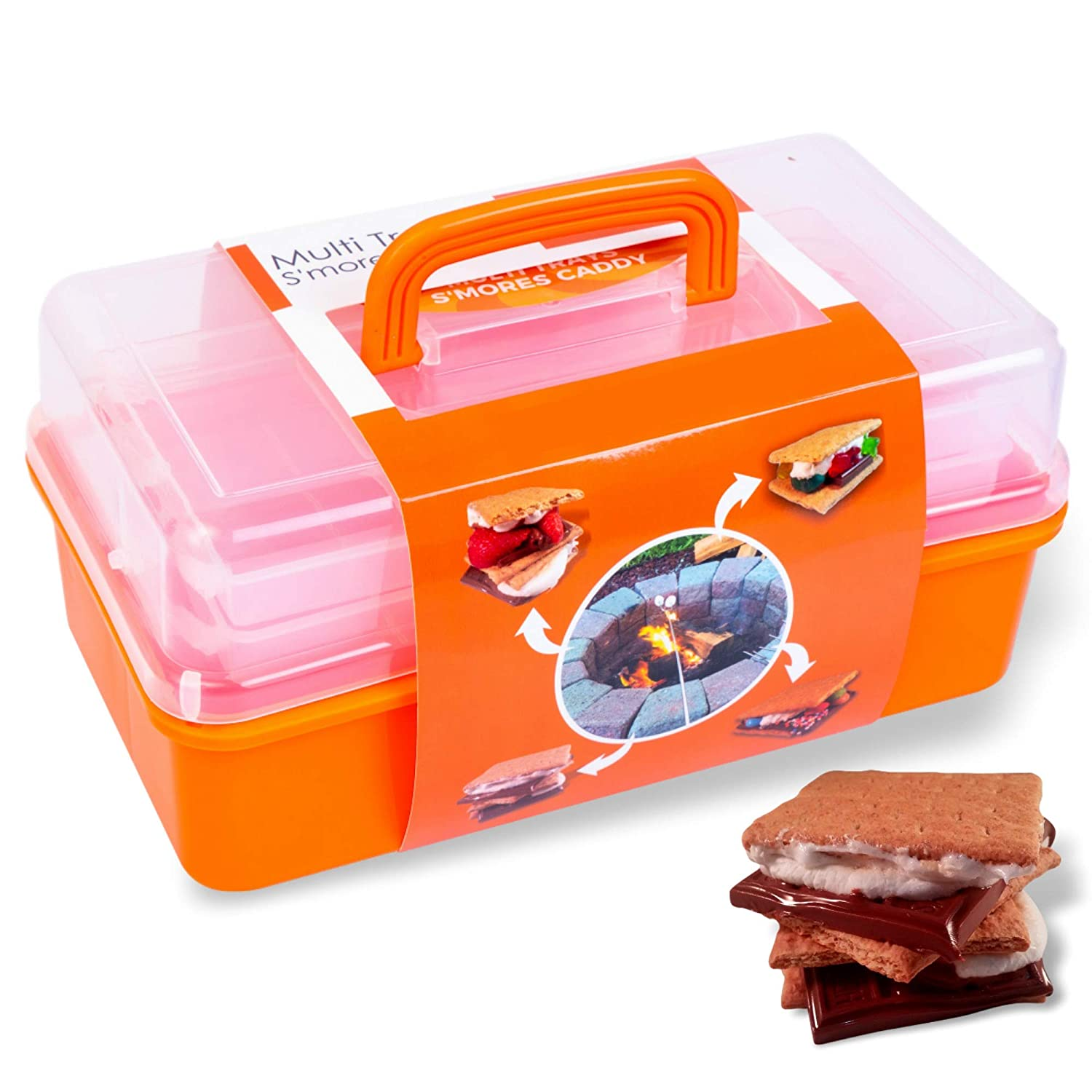 SUMPRI Smores Caddy with TWO FOLDING TRAYS -Smore Box That Keeps Your Marshmallow Roasting Sticks Crackers Chocolate Bars Organized -Fire Pit accessories Kit,Campfire Smore Skewers Storage Box Orange