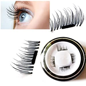 Youke New False Magnetic Eyelashes, 3D Reusable Magnetic Fake Eyelashes, 0.02mm Ultra-thin, 1 Pair 4 Pieces