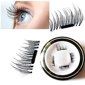 Youke New False Magnetic Eyelashes, 3D Reusable Magnetic Fake Eyelashes, 0.02mm Ultra-thin, 1 Pair 4 Pieces