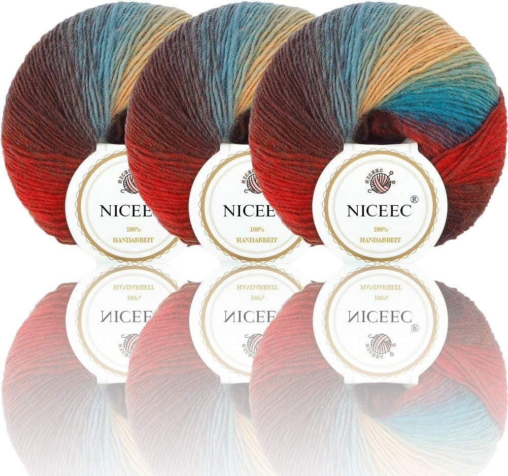 NICEEC 3 Skeins 100% Wool Rainbow Yarn Single Ply Yarn Soft Gradient Colorful Yarn Self-Striping Crochet Yarn for Knitting-14#