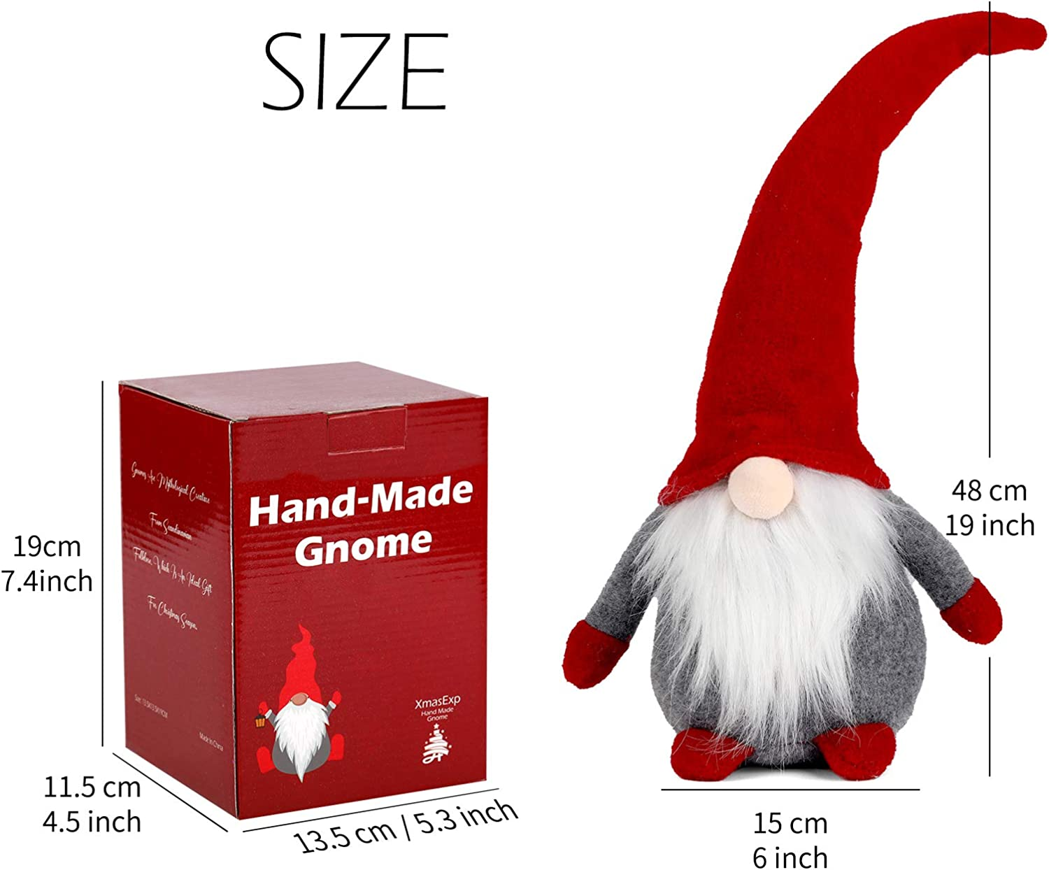 16Inch Red Figurines For the Christmas Tree Decor Handmade Swedish Gnome Plush Christmas Santa Home Decoration Indoor Outdoor Gnomes Naughty Plush Elf Toy Winter Table Ornament Holiday Presents