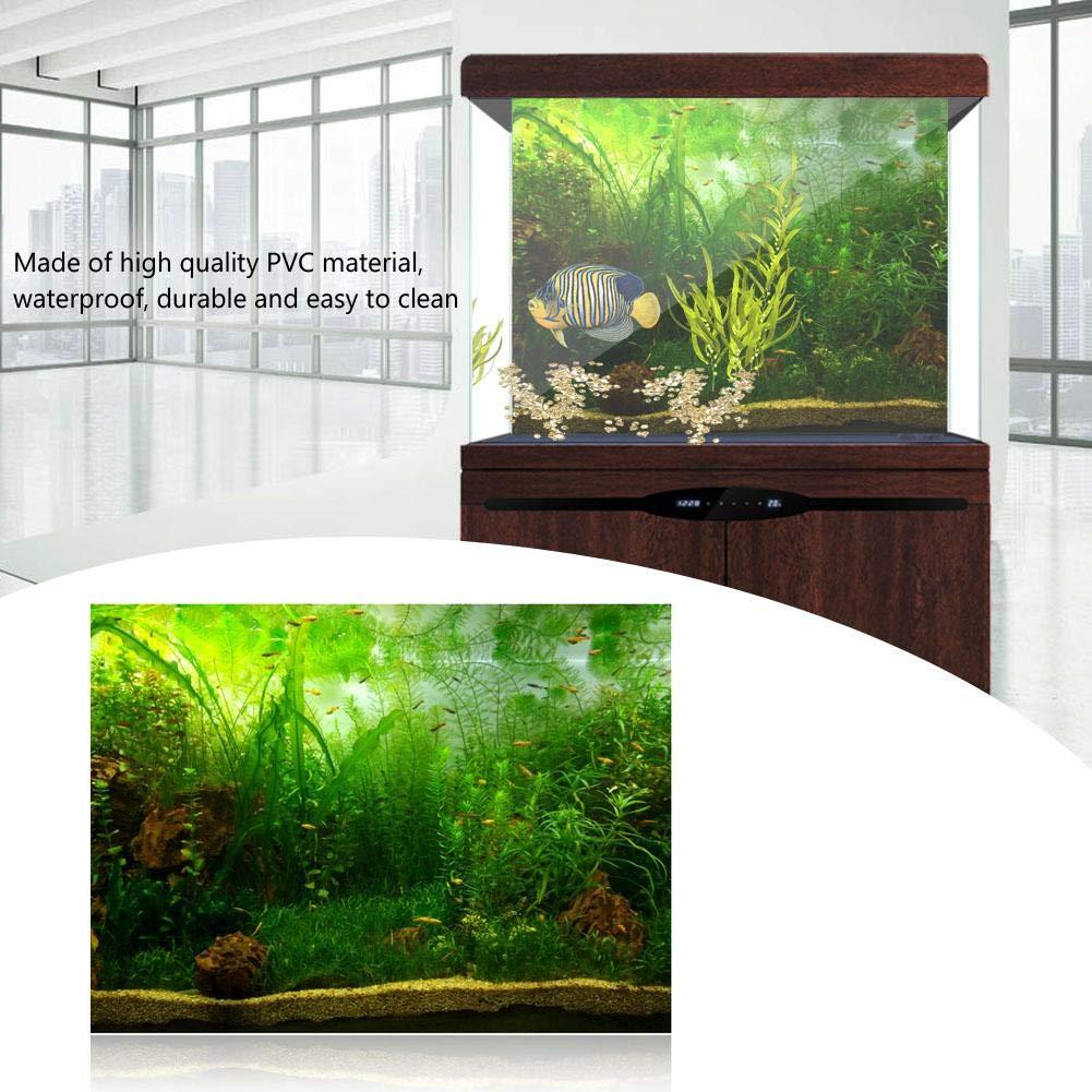 76 * 30cm Aquarium Fish Tank Background Poster PVC Adhesive Decor Paper Green Water Grass Aquatic Style Like Real