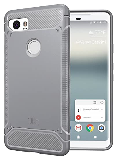 promo code f57ae 64acf Google Pixel 2 XL Case, TUDIA [TAMM Series] Carbon Fiber Design Extreme  Heavy Duty Protection/Absorbing TPU Rugged with Ultra Slim Fit Phone Cover  for ...