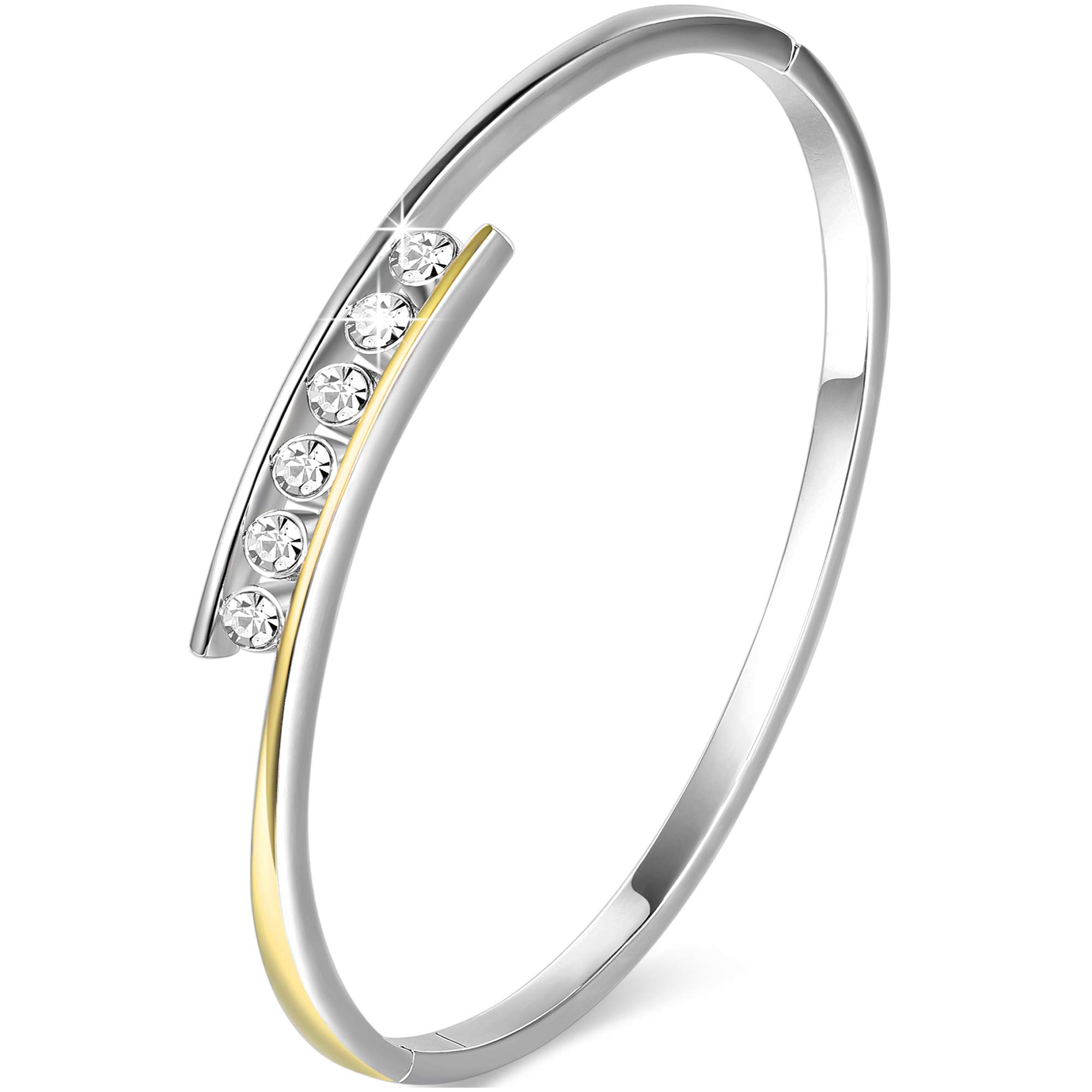 Angelady 14K White Gold Plated Encounter Bangle Love Bracelets Women\'s Mother Gifts Crystal from Swaroski