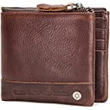 CONTACTS Mens Genuine Leather RFID Blocking Wallet (ChocoBrown)