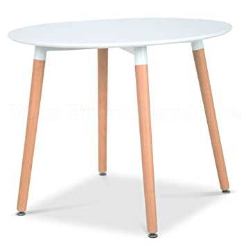 Eiffel Designer Dining Table 90cms Small Round White With Natural Wood Legs  Art Deco Style Your