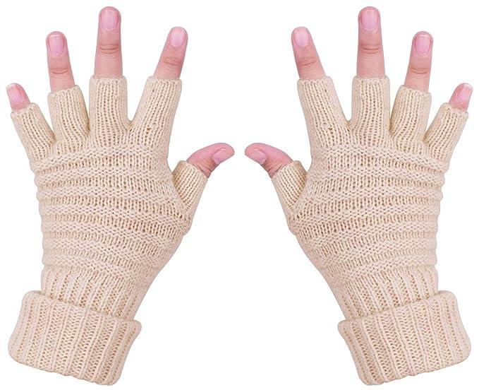 CEAJOO Women\'s Knit Fingerless Gloves Winter Warm Stretch Cashmere ...