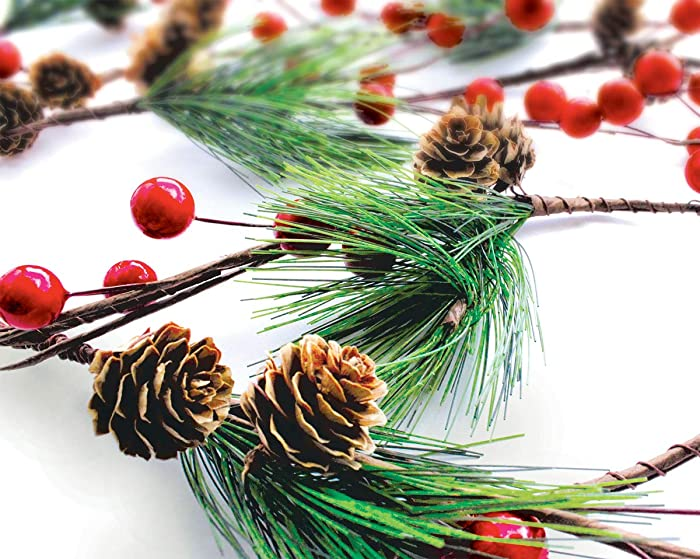 OLYPHAN Winter Garland Christmas Decoration of Red Berries, Pine Cones & Evergreen Pine Needle – Unlit Holiday Berry Décor for Home, Kitchen, Bar & Fireplace & Decorative Outdoor Greenery 6 Ft Long
