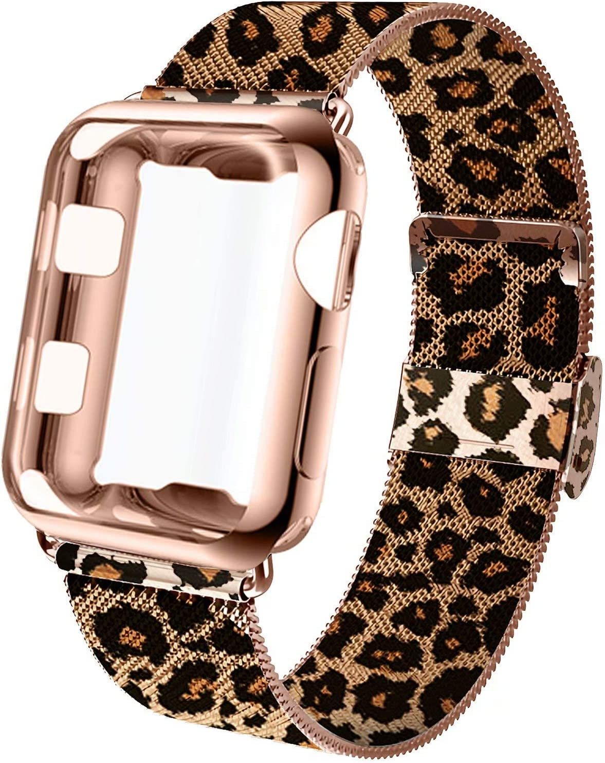 GBPOOT Compatible for Apple Watch Band 38mm 40mm 42mm 44mm with Screen Protector Case, Sports Wristband Strap Replacement Band with Protective Case for Iwatch Series 6/SE/5/4/3/2/1,38mm,Leopard