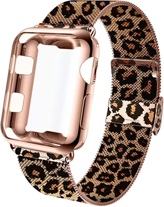 GBPOOT Compatible for Apple Watch Band 38mm 40mm 42mm 44mm with Screen Protector Case, Sports Wristband Strap Replacement Band with Protective Case for Iwatch Series 6/SE/5/4/3/2/1,44mm,Leopard