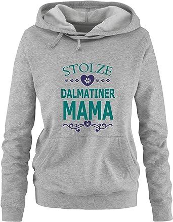 Comedy Shirts - dumna Dalmatyńczyk Mama - serce - damska bluza z kapturem, kieszeń typu kangur, długi rękaw, sweter z nadrukiem: Odzież
