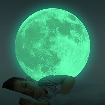 Homics Glow In The Dark Moon Wall Decals 30cm Luminous Nursery Sticker At  Night, Perfect