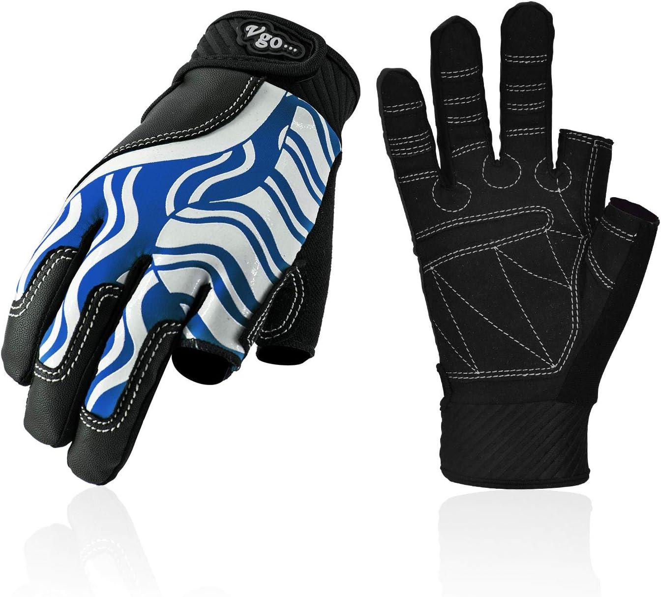 Vgo... Junior Breathable Half Finger Sailing, Boating, Rowing and Kayaking Gloves (Blue, SL0058-JM)
