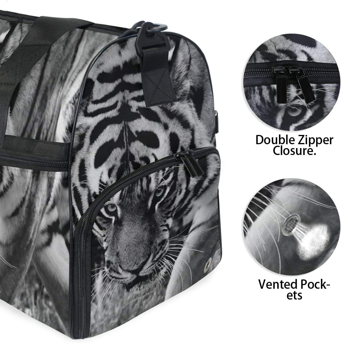 MUOOUM Fierce Tiger Animal King Large Duffle Bags Sports Gym Bag with Shoes Compartment for Men and Women