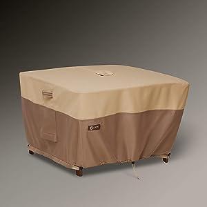 Classic Accessories Veranda's Best Waterproof Square Patio Table Cover with Umbrella Hole, 40 x 40 x 24 Inch
