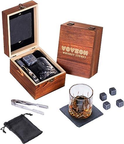 Juego de 4 piedras de whisky y cristal para regalo + cristal de roca de whisky + posavasos de pizarra para whisky, whisky y bourbon, Navidad, ...
