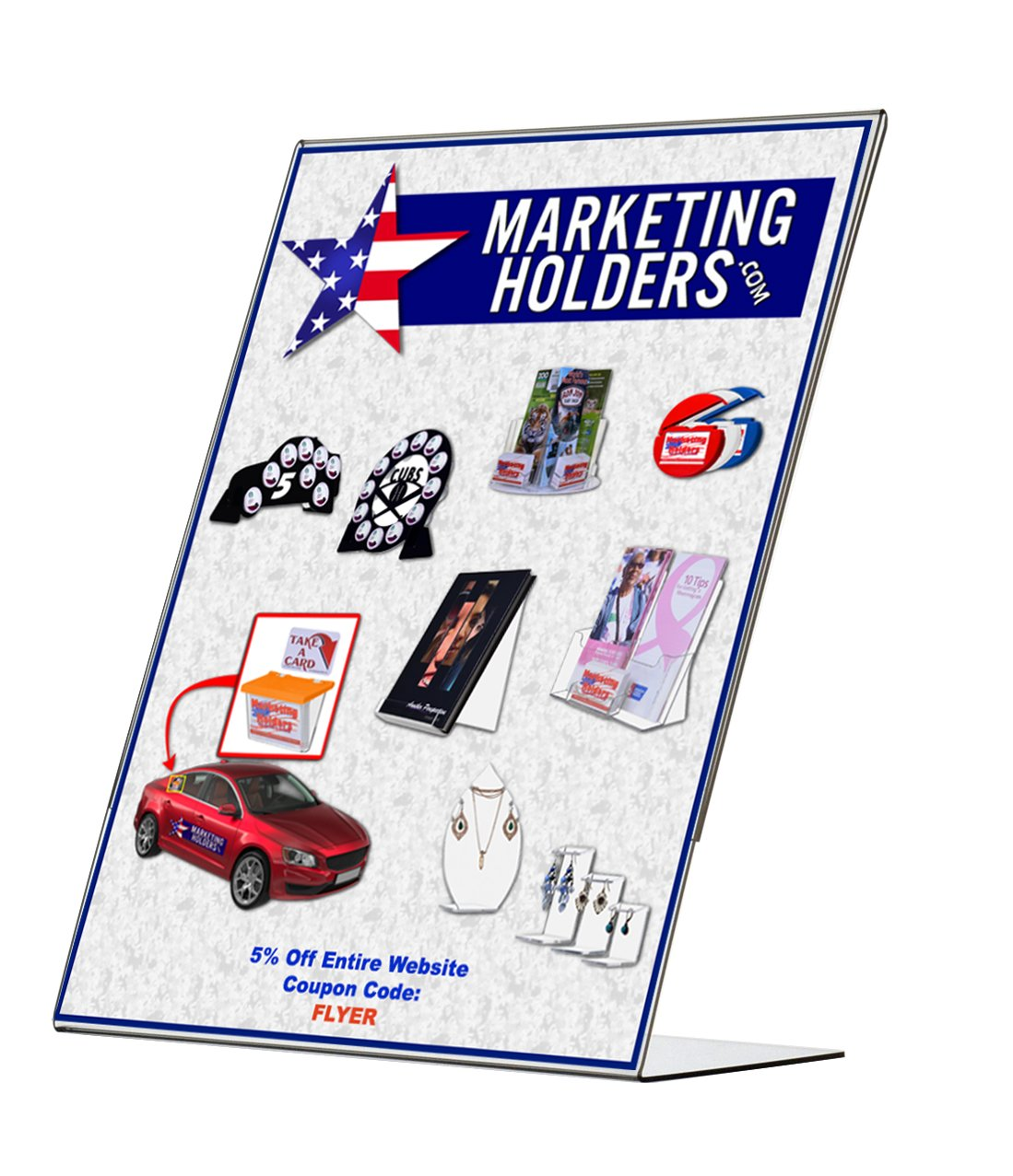 Marketing Holders 25 Pack of 8 1/2'' X 11'' Angled Crystal Clear Acrylic Ad Frame, Literature Holder, Brochure Holder