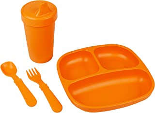 product image for Re-Play Made in The USA Toddler Diner Set | Divided Plate, No Spill Sippy Cup, Utensil Set | Eco Friendly Heavyweight Recycled Milk Jugs - Virtually Indestructible | Orange