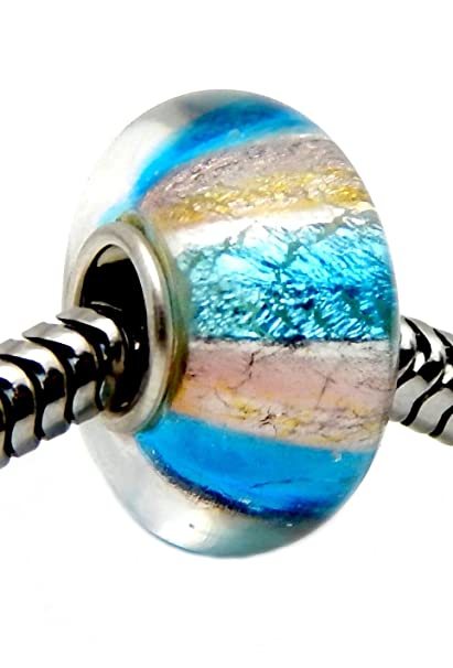 877993b29 Amazon.com: J&M Blue and Gold Foiled Murano Glass Charm Bead for Charms  Bracelets: Arts, Crafts & Sewing