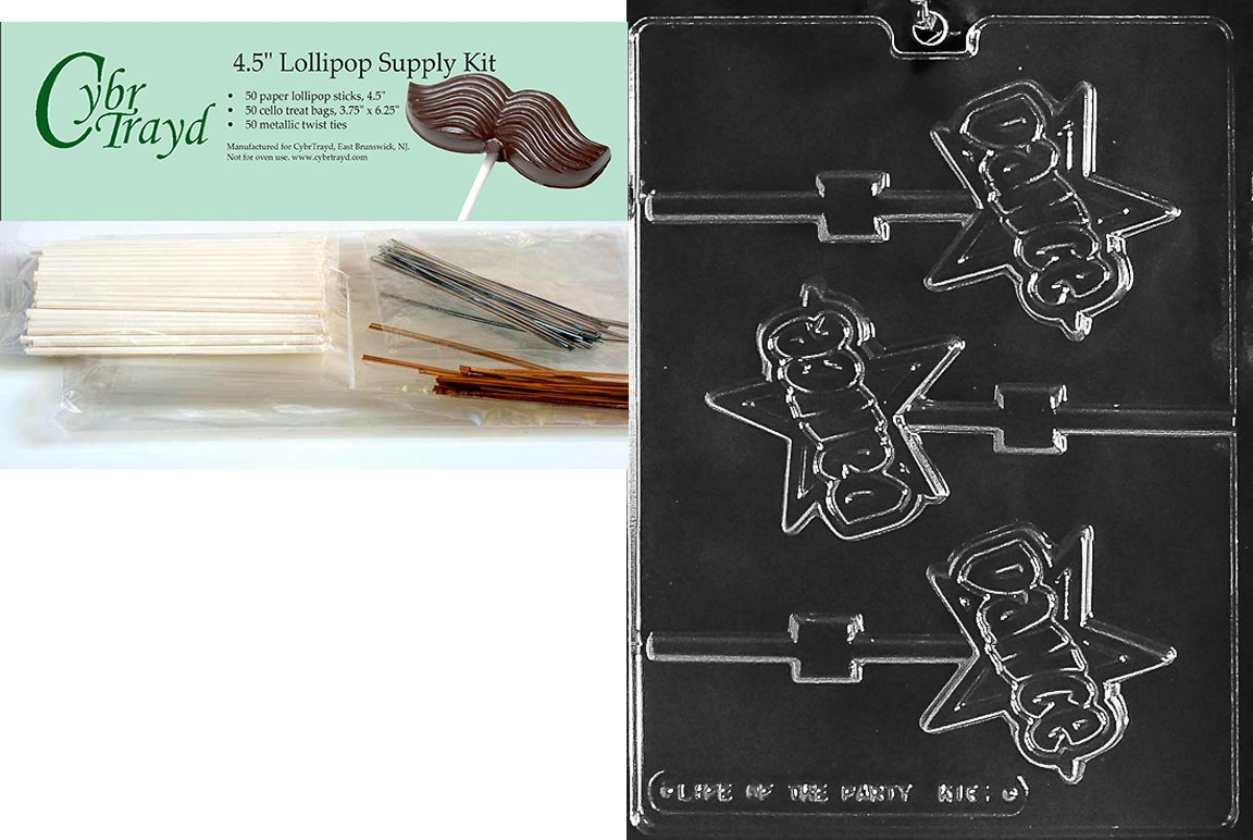 Cybrtrayd 45StK50-K161 Dance Lolly Kids Chocolate Candy Mold with Lollipop Supply Bundle, Includes 50 Lollipop Sticks, 50 Cello Bags, 25 Gold and 25 Silver Twist Ties with Instructions