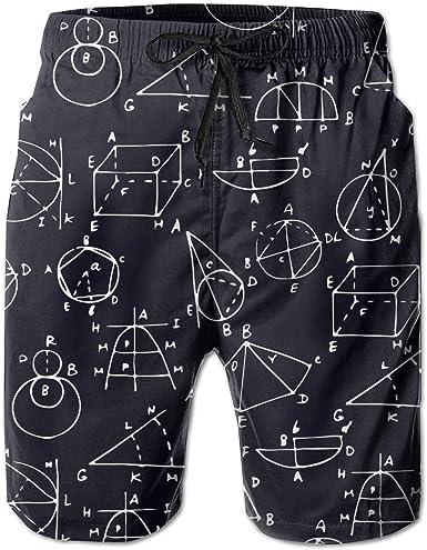 Mens Swim Trunks Quick Dry Beach Shorts I Love Math