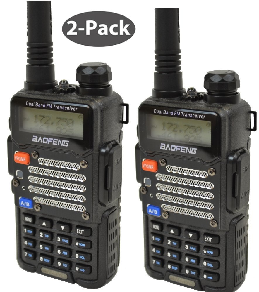 Baofeng 2-Pack UV-5R V2+UV-5R V2+ Plus Dual-Band 136-174/400-480 MHz FM Ham Two-way Radio, Improved Stronger Case, Enhanced Features - Black 2 pack (Latest 2014 Firmware)