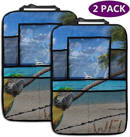 W-wishes Palm Tree Parrot Sand 2 Pack Asiento Trasero Organizador del Coche Protector del Asiento Trasero del Coche Kick Mats: Amazon.es: Coche y moto
