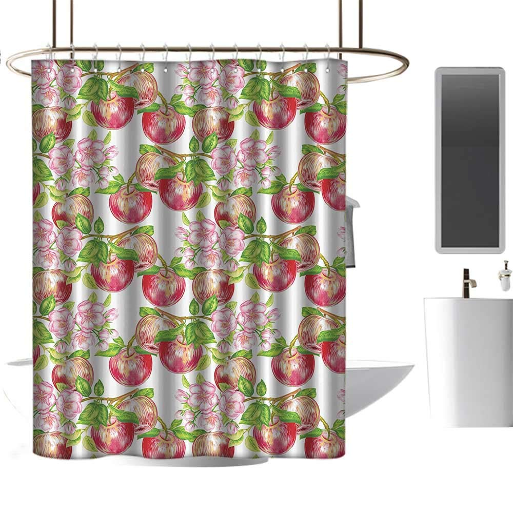 Coolteey shower curtains victorian decorapple tree in summer time with flowers nature scenery cultural artwork printred white greenw72 x l72 shower