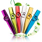 Metal Kazoo Musical Instruments, Set of 6, Colorful, Good Companion for Guitar, Ukulele, Violin, Piano Keyboard, Music Instrument Toy for Kids, Music Lover - Gold/Silver/ Red/Green/ Purple/Blue
