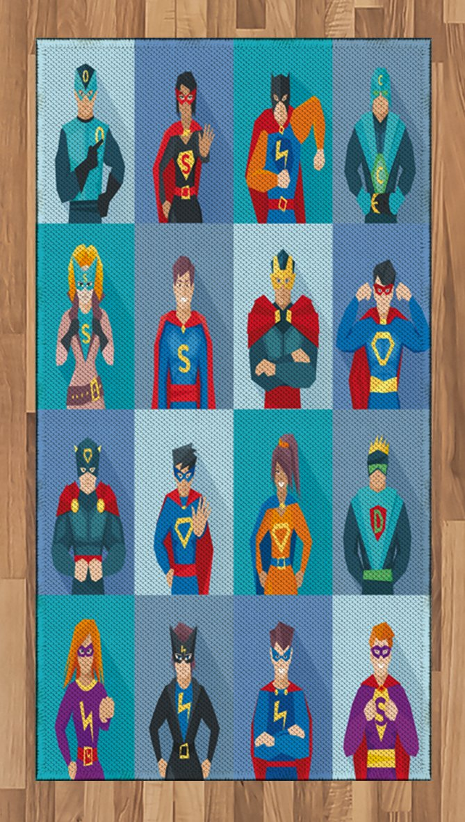 Lunarable Superhero Area Rug, Characters with Supernatural Powers in Special Costumes Comic Strip Humor Print, Flat Woven Accent Rug for Living Room Bedroom Dining Room, 2.6 x 5 FT, Multicolor